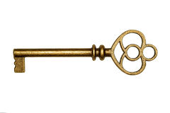 Golden key isolated on white Stock Photography