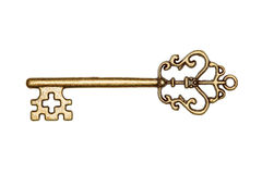 Golden key isolated on white Stock Images