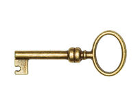 Golden key isolated on white Royalty Free Stock Photos