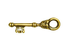 Golden key isolated on white Royalty Free Stock Photo