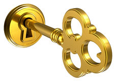 Golden key in keyhole Stock Images