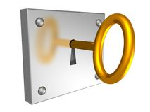 Golden key in a keyhole Stock Photos