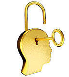 Golden Key and keyhole on head Stock Image