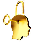 Golden Key and keyhole on head Stock Photo