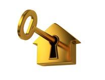 Golden key in keyhole Royalty Free Stock Image