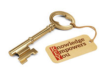 Golden key with Knowledge Empowers You tag. On white Stock Photo