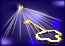 Golden key and lock. Golden key opens the lock. 10 EPS Royalty Free Stock Photo