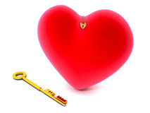 Golden key and love heart. Red love heart with small locket next to gold colored key, isolated on white background Royalty Free Stock Photos
