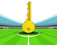 Golden key in the midfield of football stadium vector Royalty Free Stock Image