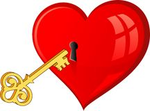 Golden key opens the heart Stock Photos