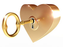 Golden key opens the heart Stock Image