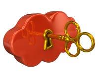 Golden key and orange cloud Stock Photos