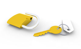 Golden key and padlock. Golden key with blank tag and unlocked golden padlock Stock Photography