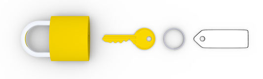 Golden key and padlock. Golden key with blank tag and golden padlock Stock Photography