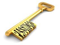 Golden key with password word on white Royalty Free Stock Photography