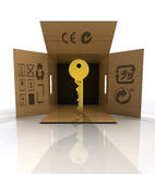 Golden key product delivered in box concept Stock Images