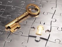 Golden key and puzzle Stock Photos