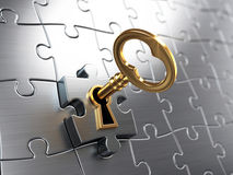 Golden key and puzzle. 3drender Stock Photo