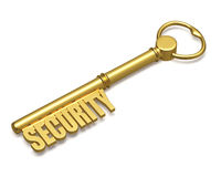 Golden key with security text made of gold Royalty Free Stock Photography