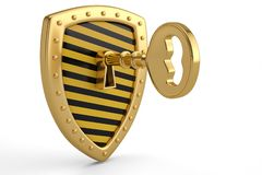Golden key on shield.3D illustration. Golden key on shield. 3D illustration royalty free illustration