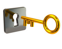 Golden key and silver keyhole Stock Photography