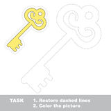 Golden Key to be colored. Vector trace game. Royalty Free Stock Photo