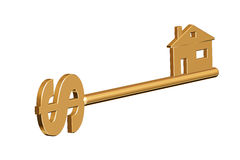 Golden key to home. Golden key to your home with a dollar Stock Photography