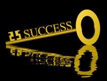 Golden Key to Success. 3-D render of a golden key to success reflecting in a dark water background Stock Image