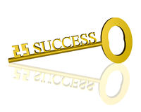 Golden Key to Success on White. 3-D render of a golden key to success reflecting in a white background Royalty Free Stock Image