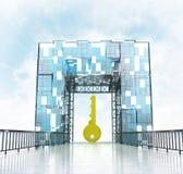 Golden key under grand entrance gateway building. Illustration Stock Photos