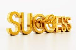 Golden key unlocking success word. 3D illustration.  royalty free illustration
