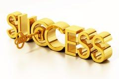 Golden key unlocking success word. 3D illustration.  stock illustration