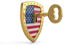 Golden key on usa flag shield.3D illustration. Golden key on usa flag shield. 3D illustration vector illustration