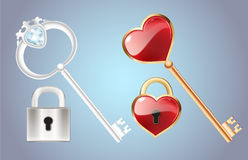 Golden Key With Diamond And Gold Closed   Lock Door Lock With A Red Heart Vector Stock Photos