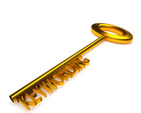 Golden key with the word keywording, 3d rendering Stock Photos