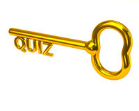 Golden key with word quiz. 3d illustration of golden key with word quiz Royalty Free Stock Images