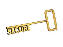 Golden key with word secure Royalty Free Stock Image