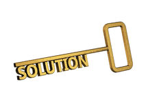 Golden key with word solution Stock Photography