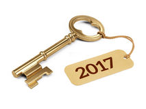 Golden Key with 2017 year tag  on white. 3d rendering Stock Images