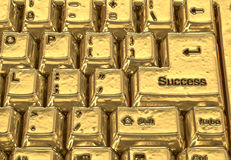 Golden keyboard of success Royalty Free Stock Photos