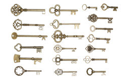Golden keys isolated on white Stock Photography
