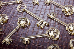 Golden keys background. Golden keys on a leather background royalty free stock image