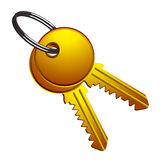 Golden keys on metallic ring Stock Photos