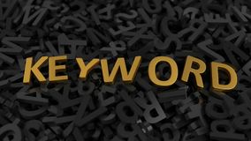 Golden `keyword` text on stack of letters. 3d illustration Royalty Free Stock Image