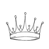 Golden king crown. Hand drawn stock illustration. Black and white whiteboard drawing stock illustration