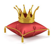 Golden king crown on the red pillow. 3d render of golden king crown on the red pillow Royalty Free Stock Photos