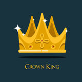 Golden king crown or retro monarch headdress. Stock Photo