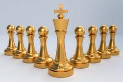 Golden King with golden pawns - chess teamwork concept. Golden King and his army with golden pawns - chess teamwork concept. 3D rendered illustration Stock Illustration