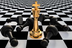 Golden King and many fallen pawns - chess leadership concept. Golden King and many fallen pawns around - chess leadership concept. 3D rendered illustration Royalty Free Illustration