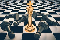 Golden King and many fallen pawns - chess leadership concept. Golden King and many fallen pawns around - chess leadership concept. 3D rendered illustration vector illustration
